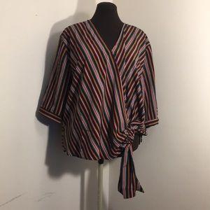 ELOQUII Striped Surplice Style Wrap Top